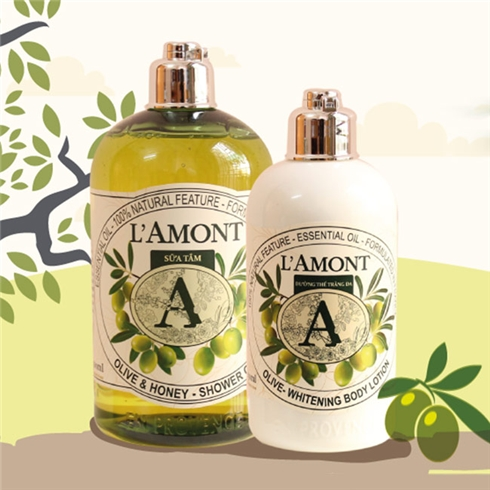 Set sữa tắm + sữa dưỡng thể L'amont En Provence Olive Honey