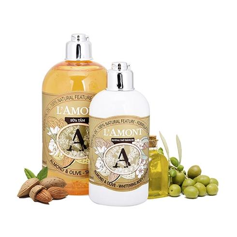 Set sữa tắm + sữa dưỡng thể L'amont En Provence Almond Olive