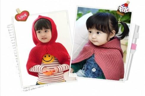 Nón len áo choàng cho bé:Sưởi ấm cho bé khi Đông đang về.
