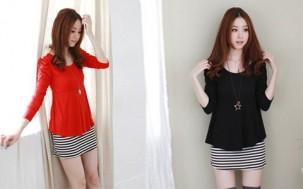 Áo tay dài phối váy sọc:Cho bạn gái năng động trẻ trung cá tính.