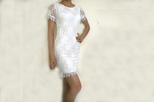 Đầm body họa tiết ren trắng c..