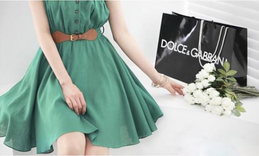 Đầm xòe thắt lưng phong cách V..