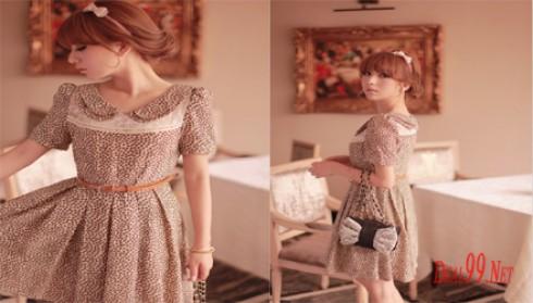 Đầm Vintage Hoa Nhí Phối Ren
