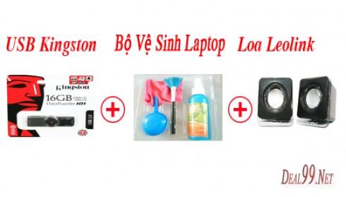 COMBO USB KINGSTON 16GB + LOA LEOLINK + BỘ VỆ SINH LAPTOP 4 MÓN