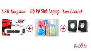 Deal 99 - COMBO USB KINGSTON 16GB + LOA LEOLINK + BO VE SINH LAPTOP 4 MON