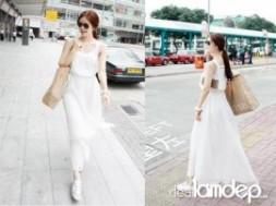 VÁY DÀI XẾP LY PARTYSU MODEL 2012 được thiết kế trên chất liệu vải cotton cao cấp màu trắng sẽ cho bạn gái hóa thân thành cô tiểu thư dịu dàng và rất đáng yêu nhé!