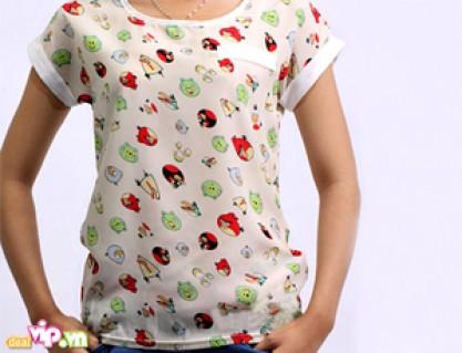 Bắt Kịp Xu Hướng Thời Trang Với Áo Voan Angry Birds Cổ Tròn Phong Cách Hàn Quốc Cho Bạn Gái Vẻ Ngoài Thanh Thoát Dịu Dàng Giá 79.000VND Giảm 50% So Với Giá Gốc 158.000VND