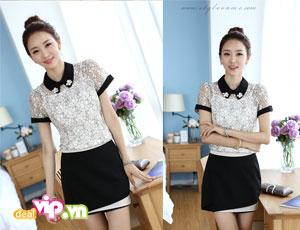 Deal Vip - Style Tre Trung Nu Tinh Cung Ao So Mi Ren Phoi Mau . Gia 139.000VND Chi Co Tai Dealvip.vn