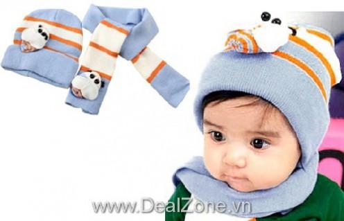 DZ665 - Bộ nón và khăn choàng len hình con bọ