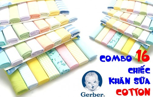 DZ921 - Combo 16 khăn sữa COTTON - Gerber