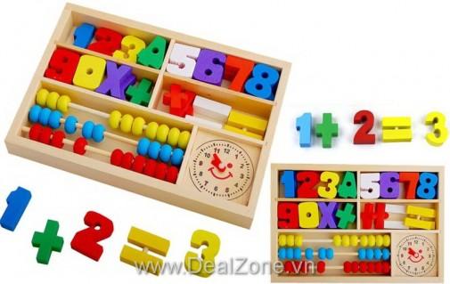 DZ1086 - Bàn tính gỗ có kèm đồng hồ cho bé