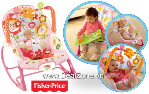 DZ1387 - Ghế rung Fisher Price Y4544 - màu hồng -...