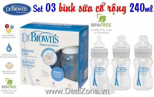 DZ521 - Set 3 bình Dr.Browm Cổ RỘNG 240ml (loại...