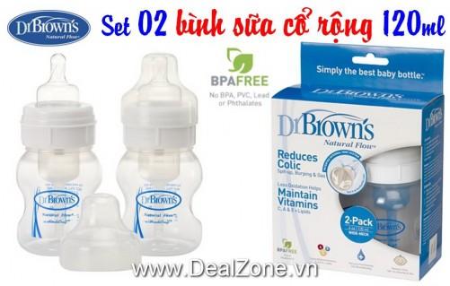 DZ522 - Set 02 bình Dr.Brown's Cổ RỘNG 120ml