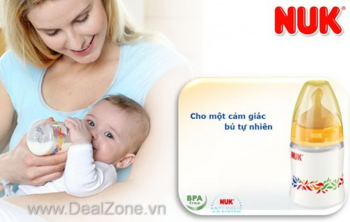 DZ1356 - Bình sữa NUK - PP cổ rộng 150ml - núm...