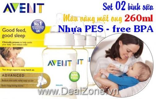 DZ528 - Set 02 bình sữa AVENT Free BPA - 266ml