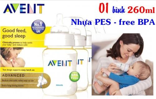 DZ570 - Bình sữa Avent 260ml - Nhựa PES - Free...