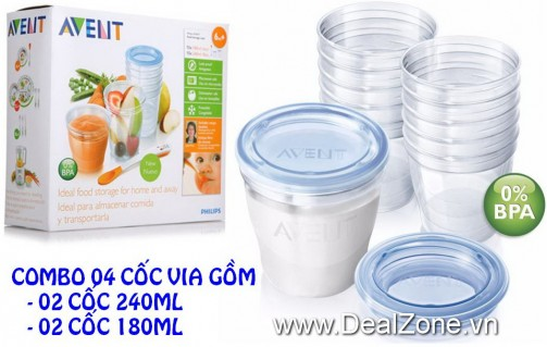 DZ843 - Combo 04 cốc VIA Philips Avent