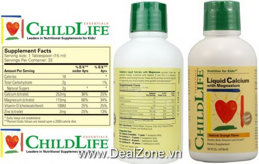 DZ1150 - Childlife Bổ sung canxi - Liquid Calcium...