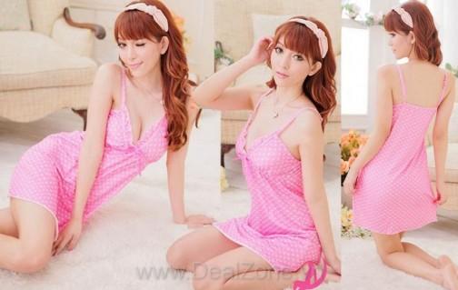 DZ847 - Đầm ngủ màu hồng đáng yêu