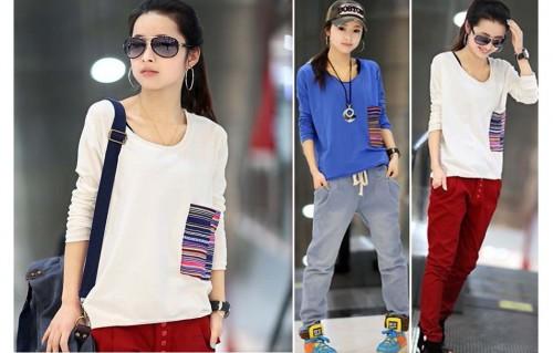 DZ1299 - Áo thun nữ túi sọc thời trang