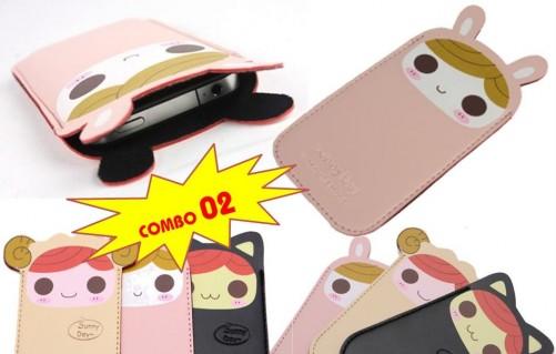 DZ1008 - Combo 02 bao da đựng điện thoại