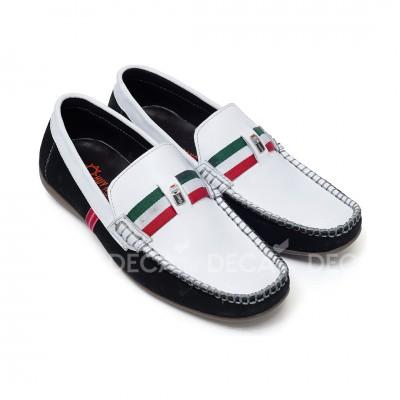 Giày mọi nam Huy Hoàng màu trắng phối viền...
