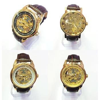 Đồng hồ cơ không PIN Rolex Omega Dây Da - Mặt vàng- ID651