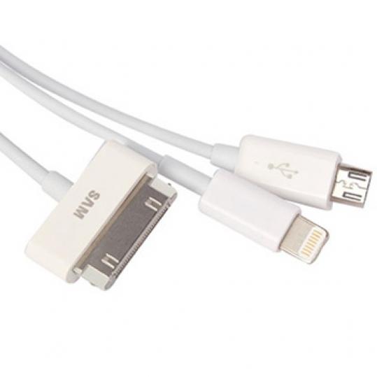 Cáp sạc USB 3 in 1 - loại tốt cho iPhone 4/5, iPad 4, Ipad mini, Samsung S2, HTC, Samsung Galaxy Tab...ID681