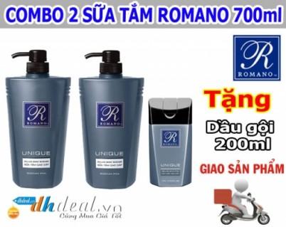 Combo 2 sữa tắm Romano 700ml + tặng kèm dầu gội Romano 200ml. Giảm 40% giá cho thành viên dhdeal.vn - Dịch Vụ Làm Đẹp