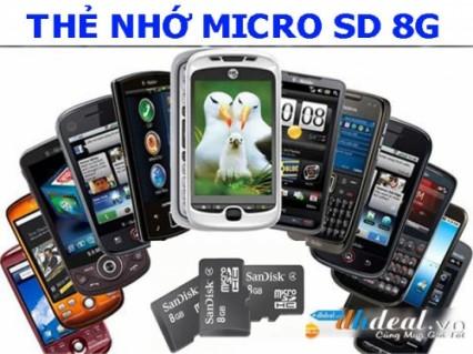 Micro SD 8G là loại thẻ nhớ thông dụng nhất hiện nay, tương thích với phần lớn các loại điện thoại di động, máy ảnh đời mới.