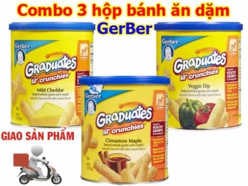 Combo 3 hộp Bánh ăn dặm Gerber Phô mai - Rau củ - Quế , Hàng Xách Tay Của Mỹ - Ăn Uống