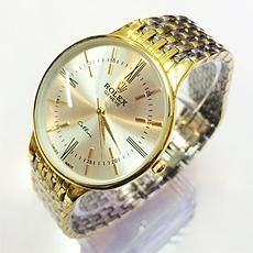 DH Deal - Dong ho Rolex Cellini day inox phói màu mạ vàng cục dẹp - ID1392