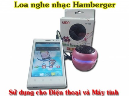Chiếc loa nghe nhạc Hamberger với đèn led nhiều màu, ngõ ra 3.5mm cho bạn thưởng thức nhạc trên Iphone, máy tính bảng, PC, laptop cực đã.