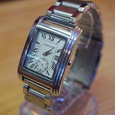 DH Deal - Dong ho nam mat vuong Cartier Platinum -mat trang - ID1663