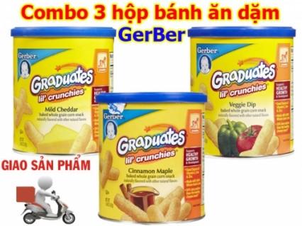 Combo 3 hộp Bánh ăn dặm Gerber Phô mai - Rau củ - Quế , Hàng Xách Tay Của Mỹ ♥