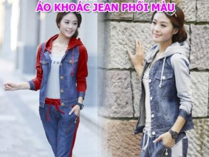 Ao Khoac Jean Phoi Mau - Thiết kế với vải jean phần thân, vải thun phần tay áo và mủ áo tạo nét nổi bật cho áo.. ID485