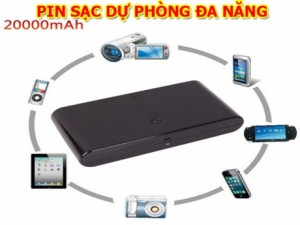 Pin sac du phong da nang 20.000 mAh - danh cho dien thoai va may tinh bang voi dung luong cuc cao 20.000 mAh. Co 2 che do sac nhanh va cham tuy thich. ID442