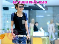 DH Deal - Ao Thun Phoi Jean Tui Caro - Thiet ke doc dao, dep mat voi nhieu hoa tiet phoi jean o canh tay, tui caro cho ban gai them nu tinh, dang yeu. ID511