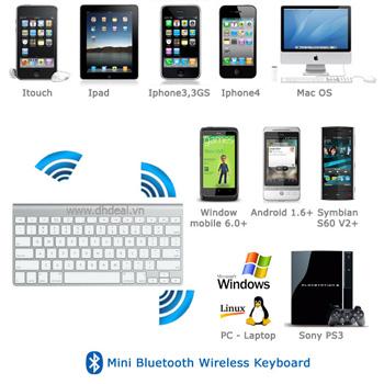 Bàn phím không dây Mini Bluetooth - Cho Nhiều Thiết Bị như Tablet, Ipad, Iphone, Smartphone, Laptop, PC, HTPC, Sony PS3. ID529