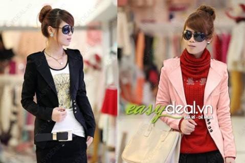 Áo khoác vest đính nút với hai màu thời trang