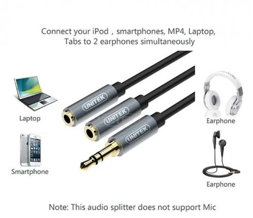 Eshop 24H - Cap Loa Audio 3.5mm 1 ra 2 UNITEK (Y-C 956ABK)
