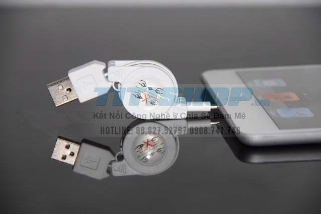 Cáp Sạc usb Iphone 5 kiểu dây rút