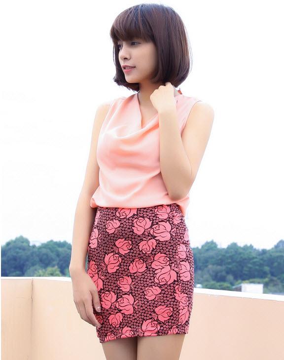 Chân váy hoa kiểu dáng nữ tính CV1