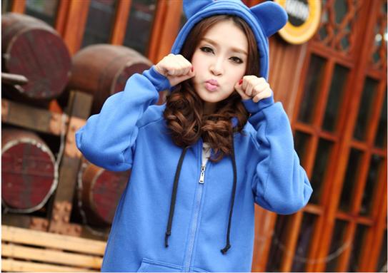 Áo khoác nữ tai gấu xì tin màu xanh