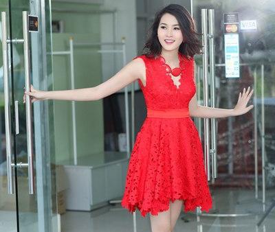 Đầm ren nổi HQ màu đỏ-