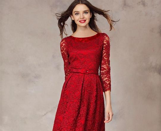 Đầm ren HQ cao cấp màu đỏ-