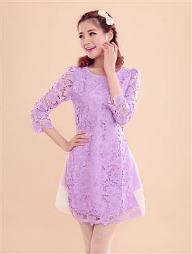 Đầm tơ ren Hàn Quốc màu tím-