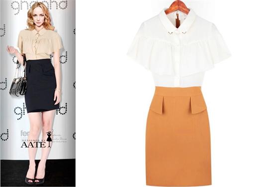 Đầm công sở kiểu mới màu kem đen / trắng cam-