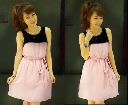 Đầm Xòe Phối Màu Xinh Xắn-